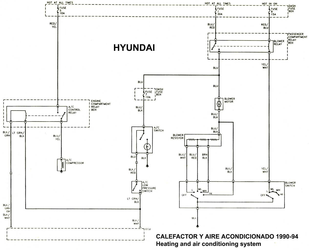 Hyundai 1986 97 diagramas esquemas ubicacion de components mecanica automotriz - Mejor sistema de calefaccion electrica ...