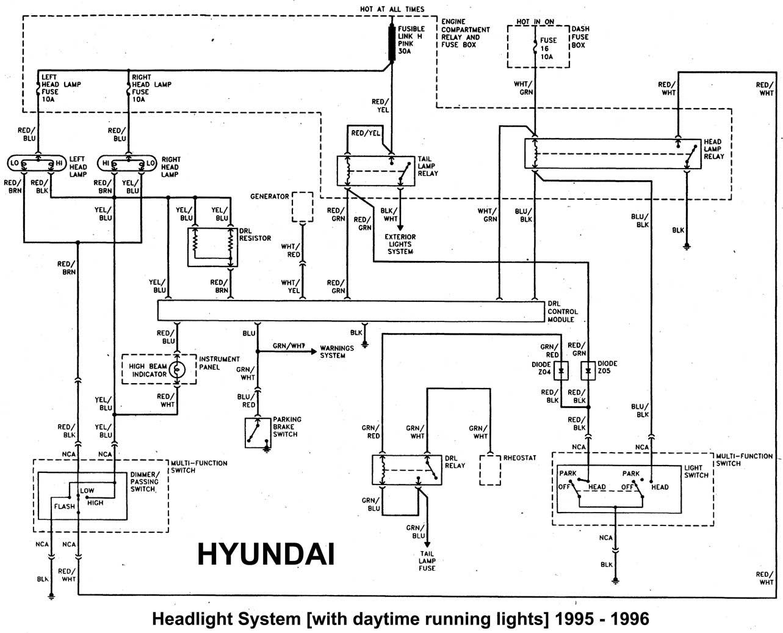 Hyundai 1986 97 Diagramas Esquemas Ubicacion De Components Accent 1997 Fuse Box Luces Delanteras Without Daytime Running Lights