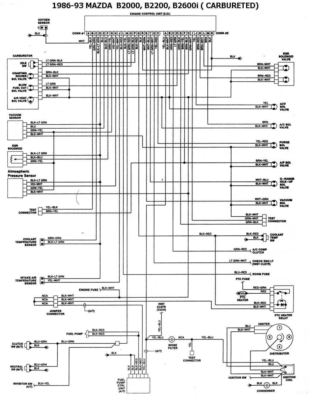 1991 mazda b2600i with Esqmzd001 on Mazda B2200 Distributor Wiring Diagram together with Mazda Alternator Wiring Diagram besides Mazda 2 Dy Wiring Diagram in addition Vacuum hose guide furthermore Mazda Millenia Ac Wiring Diagram.