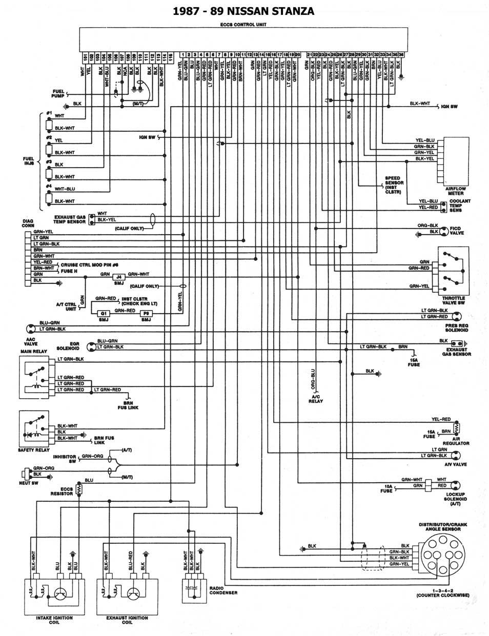 Nissan 1986 93 Diagramas Esquemas Ubicacion De Componentes 1991 Stanza Engine Diagram 1987 89 Esquema Electrico