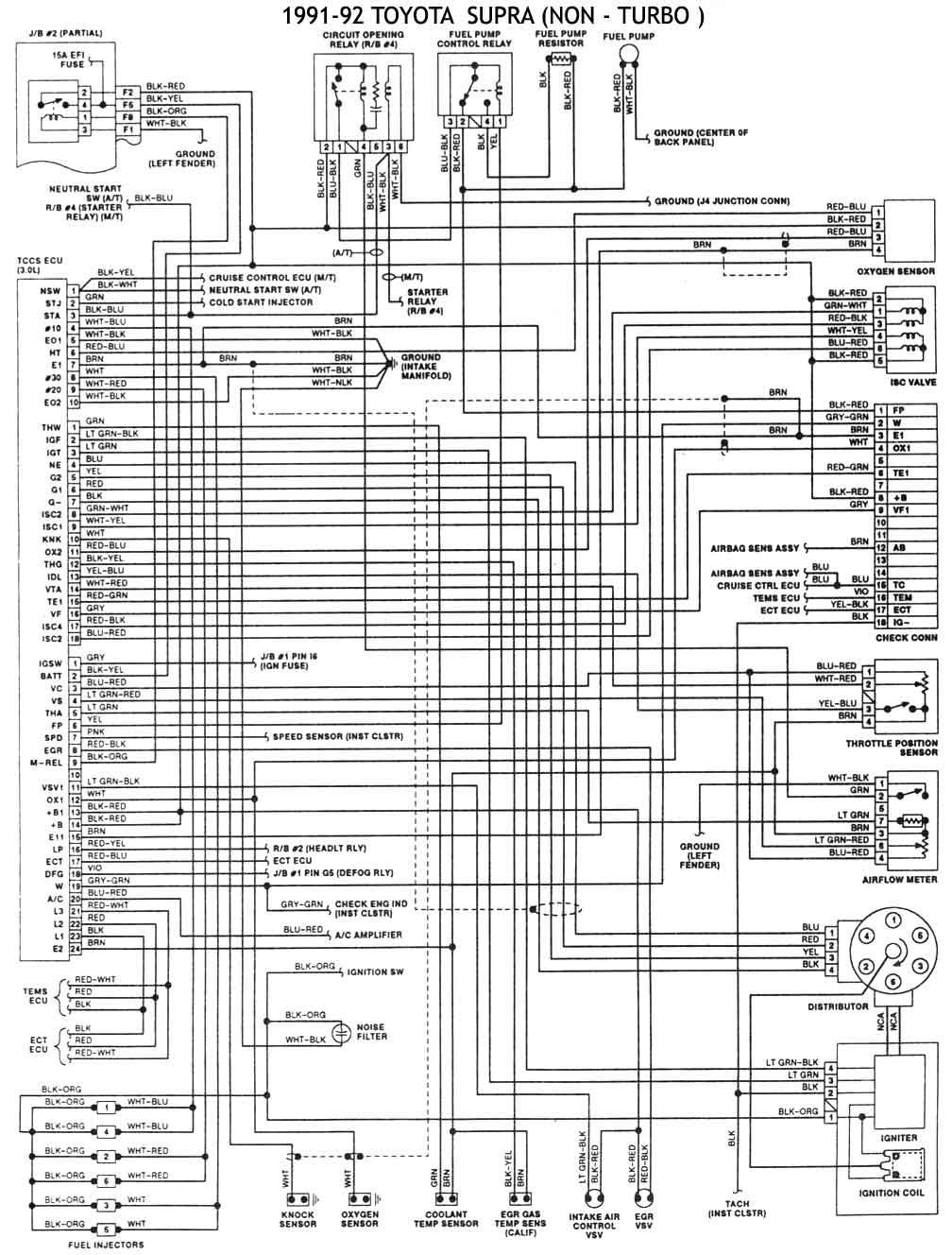 Toyota 1986 93 Diagramas Esquemas Ubicacion De Components 1992 4runner Ecu 1991 92 No Turbo