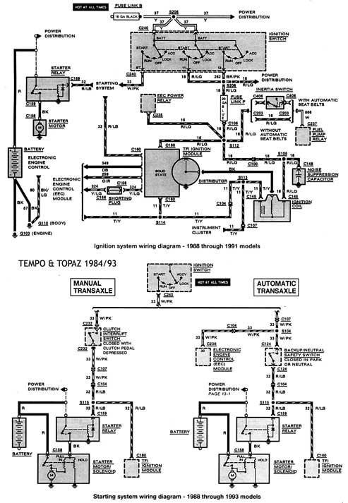 ford tempo  u0026 mercury topaz 1984  93 esquemas electricos