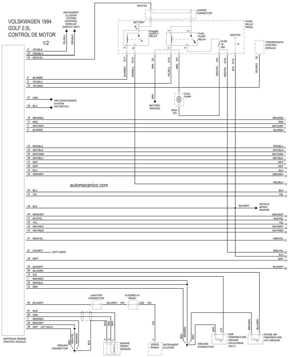Diagrama de control de motor 1/2 1994