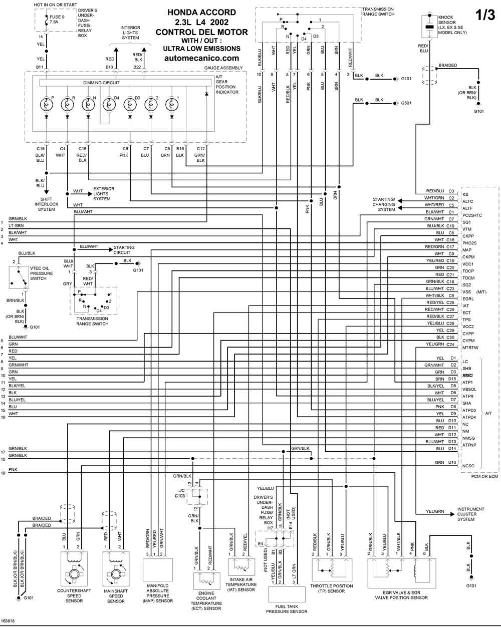 honda - diagramas control del motor 2002
