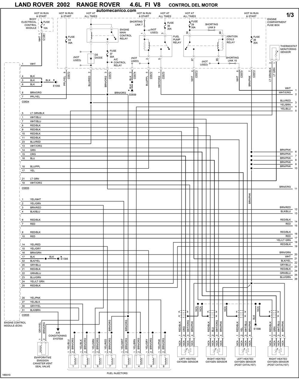 land rover - diagramas control del motor 2002