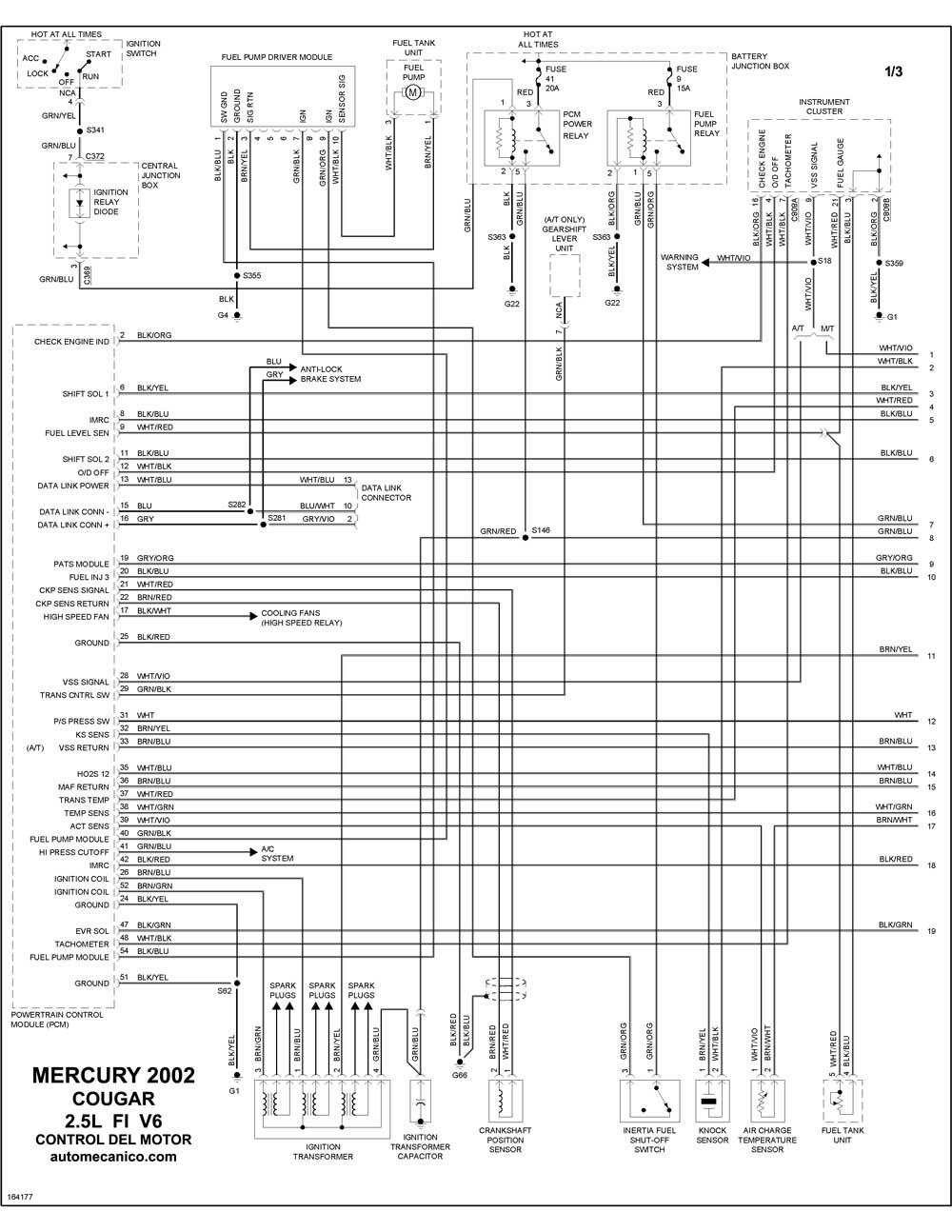 mercury - diagramas control del motor 2002