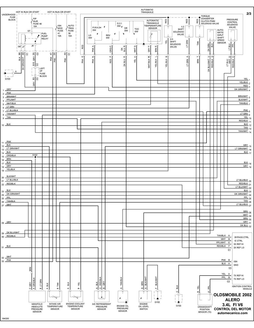 oldsmobile - diagramas control del motor 2002